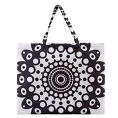 Mandala Geometric Symbol Pattern Zipper Large Tote Bag by Onesevenart