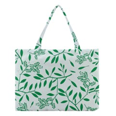 Leaves Foliage Green Wallpaper Medium Tote Bag by Onesevenart