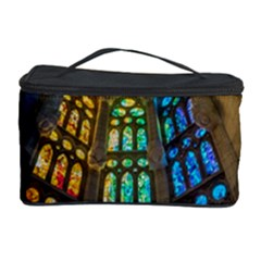 Leopard Barcelona Stained Glass Colorful Glass Cosmetic Storage Case by Onesevenart