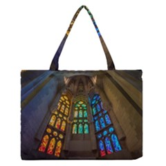 Leopard Barcelona Stained Glass Colorful Glass Medium Zipper Tote Bag by Onesevenart