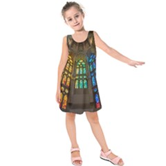 Leopard Barcelona Stained Glass Colorful Glass Kids  Sleeveless Dress by Onesevenart