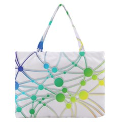 Network Connection Structure Knot Medium Zipper Tote Bag by Onesevenart