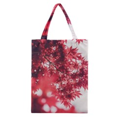 Maple Leaves Red Autumn Fall Classic Tote Bag by Onesevenart