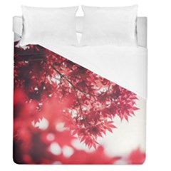 Maple Leaves Red Autumn Fall Duvet Cover (queen Size) by Onesevenart