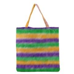 Mardi Gras Strip Tie Die Grocery Tote Bag by PhotoNOLA
