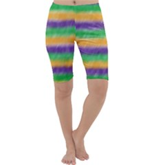 Mardi Gras Strip Tie Die Cropped Leggings