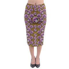 Gold Plates With Magic Flowers Raining Down Midi Pencil Skirt by pepitasart