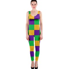 Mardi Gras Checkers Onepiece Catsuit by PhotoNOLA