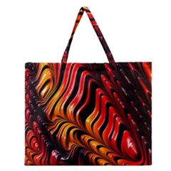 Fractal Mathematics Abstract Zipper Large Tote Bag by Onesevenart
