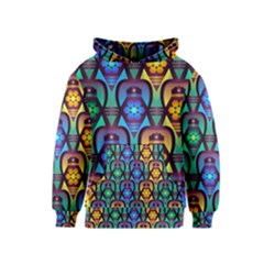 Pattern Background Bright Blue Kids  Pullover Hoodie by Onesevenart