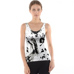 Pattern Color Painting Dab Black Tank Top by Onesevenart