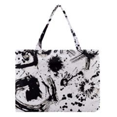 Pattern Color Painting Dab Black Medium Tote Bag by Onesevenart