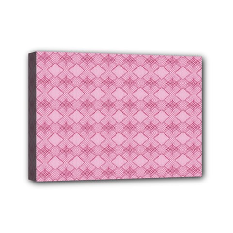 Pattern Pink Grid Pattern Mini Canvas 7  X 5  by Onesevenart
