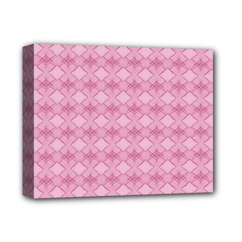 Pattern Pink Grid Pattern Deluxe Canvas 14  X 11  by Onesevenart