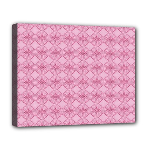Pattern Pink Grid Pattern Deluxe Canvas 20  X 16   by Onesevenart