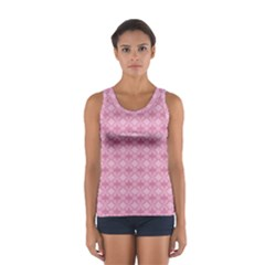 Pattern Pink Grid Pattern Women s Sport Tank Top  by Onesevenart