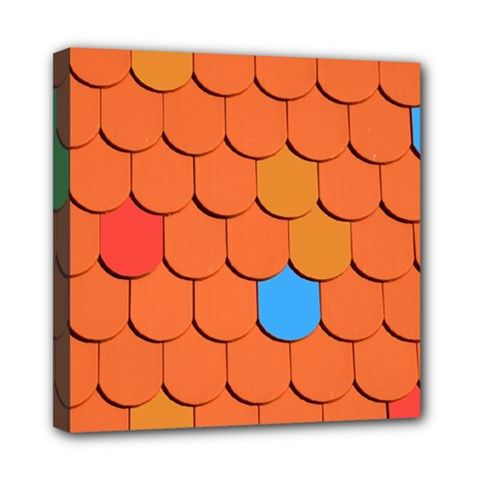 Roof Brick Colorful Red Roofing Mini Canvas 8  X 8  by Onesevenart