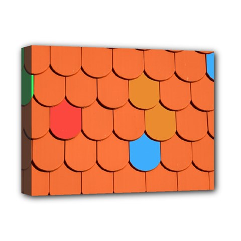 Roof Brick Colorful Red Roofing Deluxe Canvas 16  X 12   by Onesevenart