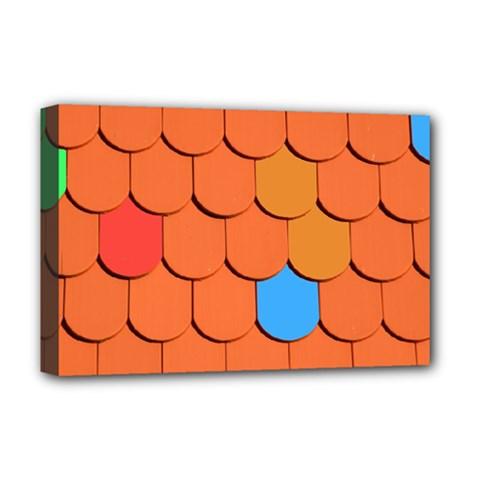 Roof Brick Colorful Red Roofing Deluxe Canvas 18  X 12   by Onesevenart