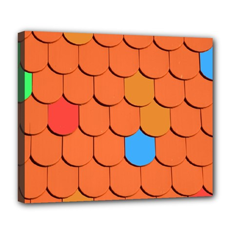 Roof Brick Colorful Red Roofing Deluxe Canvas 24  X 20   by Onesevenart