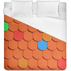 Roof Brick Colorful Red Roofing Duvet Cover (king Size) by Onesevenart