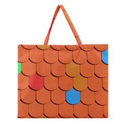 Roof Brick Colorful Red Roofing Zipper Large Tote Bag by Onesevenart