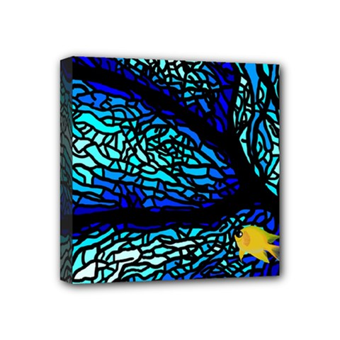 Sea Fans Diving Coral Stained Glass Mini Canvas 4  X 4  by Onesevenart