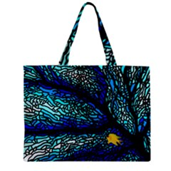 Sea Fans Diving Coral Stained Glass Zipper Mini Tote Bag by Onesevenart