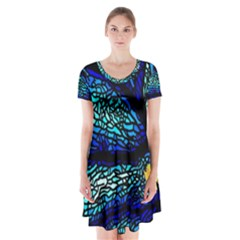 Sea Fans Diving Coral Stained Glass Short Sleeve V-neck Flare Dress by Onesevenart
