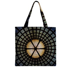 Stained Glass Colorful Glass Zipper Grocery Tote Bag by Onesevenart