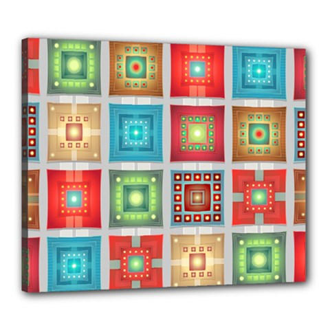 Tiles Pattern Background Colorful Canvas 24  X 20  by Onesevenart