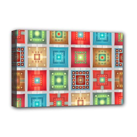 Tiles Pattern Background Colorful Deluxe Canvas 18  X 12   by Onesevenart