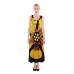 Yellow Flower Stained Glass Colorful Glass Sleeveless Maxi Dress by Onesevenart