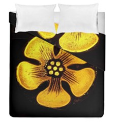 Yellow Flower Stained Glass Colorful Glass Duvet Cover Double Side (queen Size) by Onesevenart