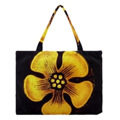 Yellow Flower Stained Glass Colorful Glass Medium Tote Bag by Onesevenart