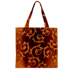Floral Vintage Zipper Grocery Tote Bag by Onesevenart
