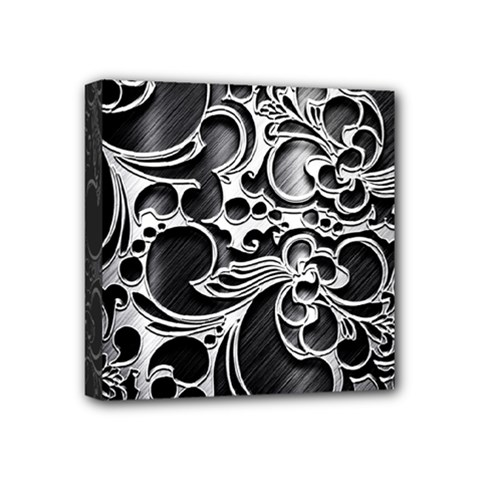 Floral High Contrast Pattern Mini Canvas 4  X 4  by Onesevenart