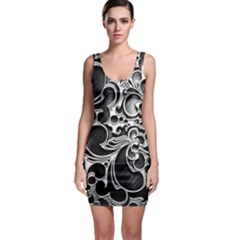Floral High Contrast Pattern Sleeveless Bodycon Dress by Onesevenart