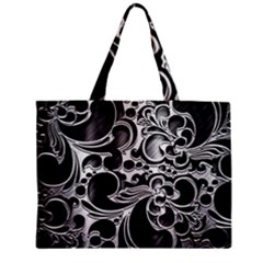 Floral High Contrast Pattern Zipper Mini Tote Bag by Onesevenart