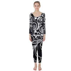 Floral High Contrast Pattern Long Sleeve Catsuit by Onesevenart