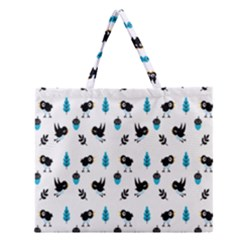 Bird Beans Leaf Black Blue Zipper Large Tote Bag by Alisyart