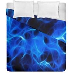 Blue Flame Light Black Duvet Cover Double Side (california King Size) by Alisyart