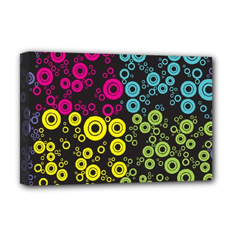 Circle Ring Color Purple Pink Yellow Blue Deluxe Canvas 18  X 12   by Alisyart