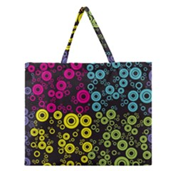 Circle Ring Color Purple Pink Yellow Blue Zipper Large Tote Bag by Alisyart