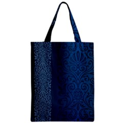 Fabric Blue Batik Zipper Classic Tote Bag by Alisyart