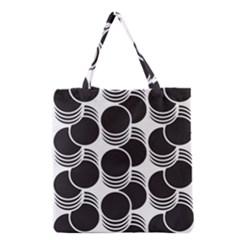 Floral Geometric Circle Black White Hole Grocery Tote Bag by Alisyart