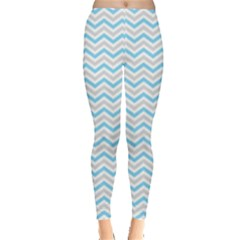 Free Plushie Wave Chevron Blue Grey Gray Leggings  by Alisyart