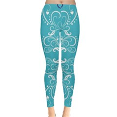 Flower Leaf Floral Love Heart Sunflower Rose Blue White Leggings  by Alisyart