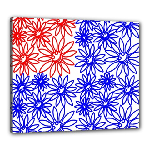 Flower Floral Smile Face Red Blue Sunflower Canvas 24  X 20  by Alisyart