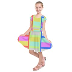 Maximum Color Rainbow Red Blue Yellow Grey Pink Plaid Flag Kids  Short Sleeve Dress